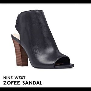 "Nine West ""Zofee"" Black Leather Peep Toe Bootie"